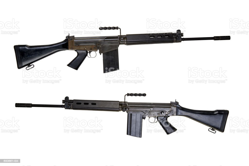 Two Side view of a assault rifle stock photo