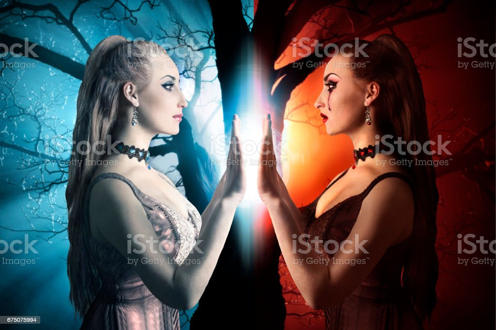 Two sides of a human being. stock photo