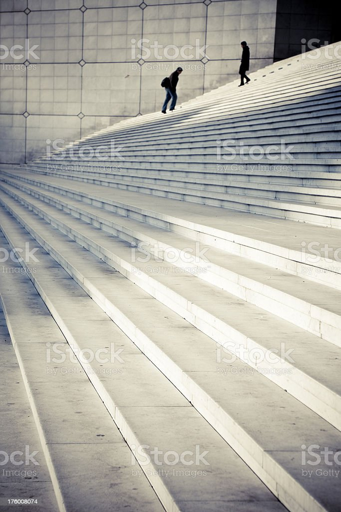 Two silhouette on staircase - Royalty-free Adult Stock Photo