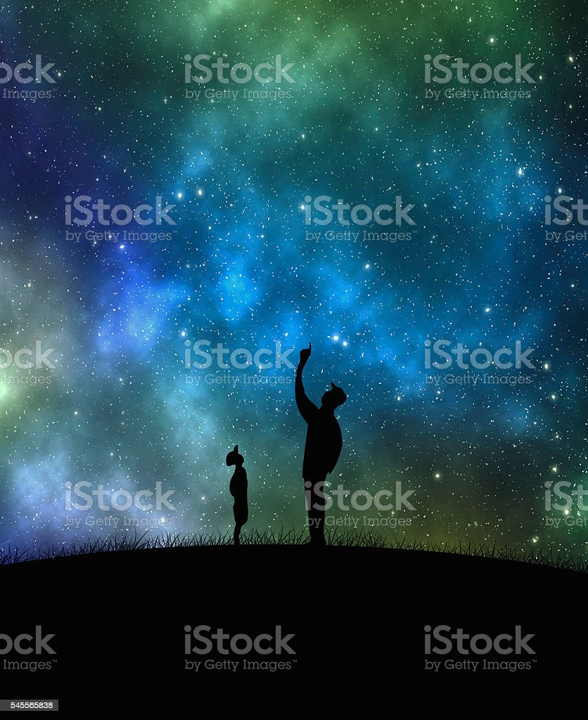 Two silhouettes father - son – Foto