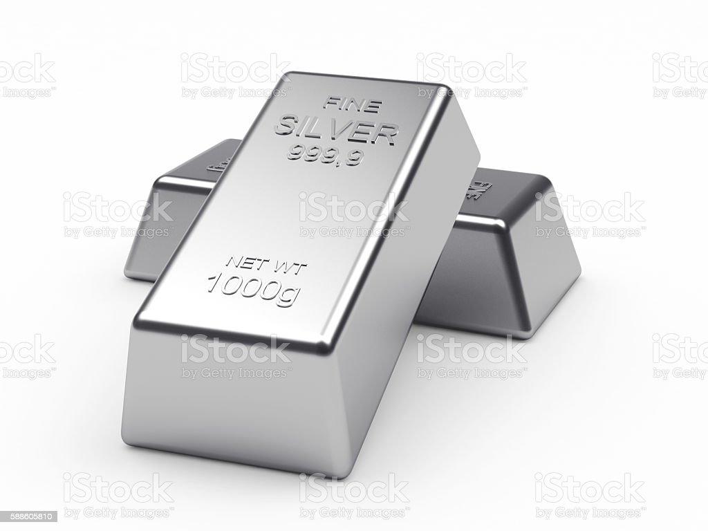 Two silver bars on a white - foto de acervo