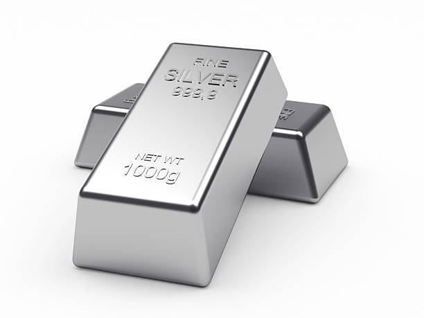 Two silver bars on a white stock photo