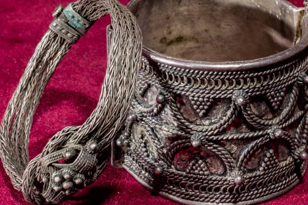 two silver bracelets - filigree stock photos and pictures
