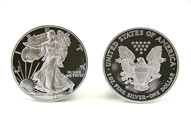 Two Silver Dollars stock photo