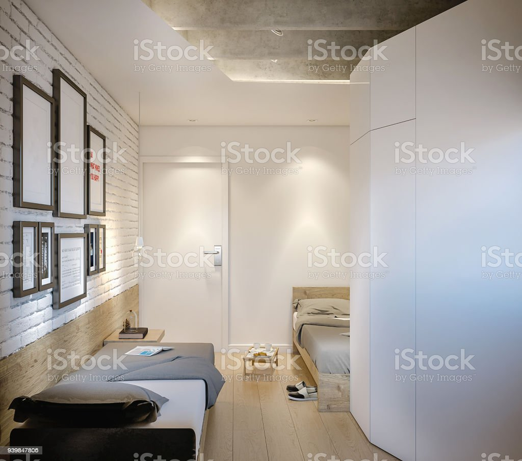 Picture of: Two Single Beds In Small Room Of Modern Hostel Stock Photo Download Image Now Istock