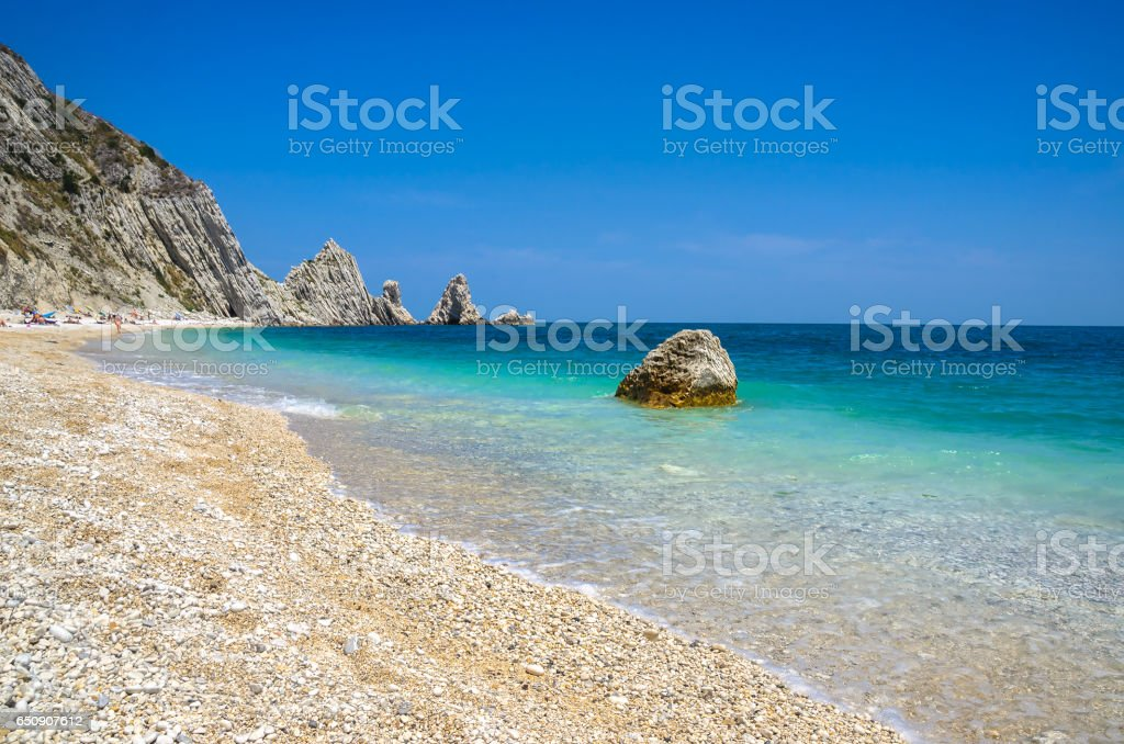 Due Sorelle beach riviera del Conero Numana Marche Ancona Italy stock photo