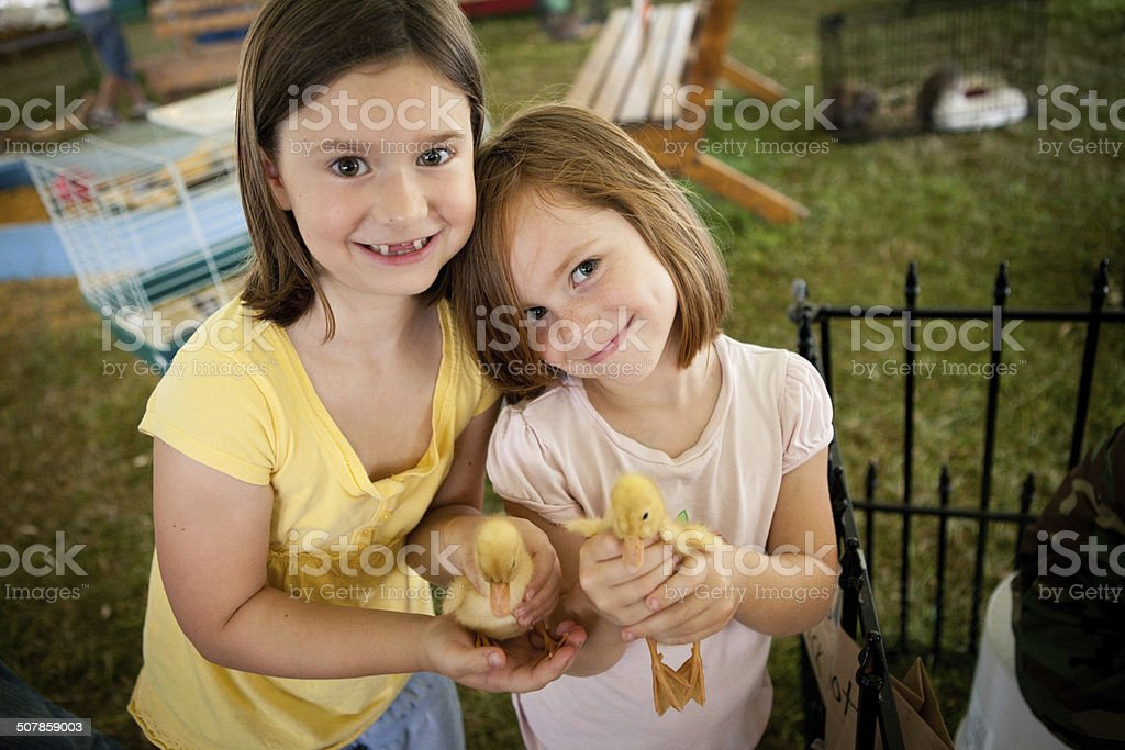 Two Sisters Holding Ducklings at Agricultural Fair stock photo