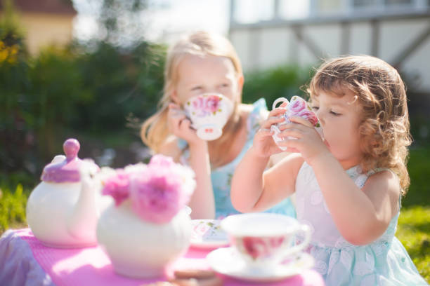 Two sisters playing tea party outdoors. stock photo