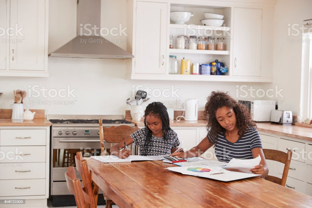 Two Sisters Sitting At Table In Kitchen Doing Homework Stock Photo & More  Pictures of 10-11 Years