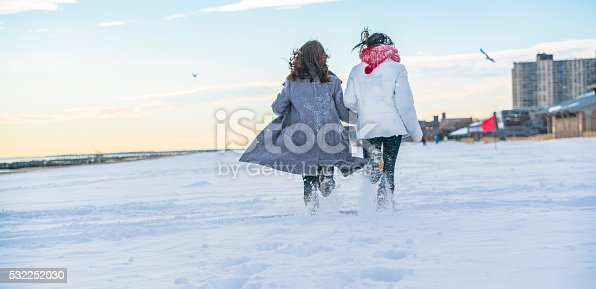 Two sisters, teenager girls, run together on the Brighton Beach covered by snow after the winter storm Jonas. Brooklyn, New York, USA