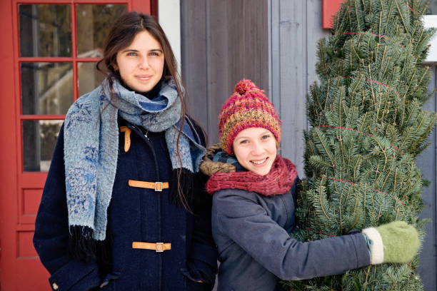 Two sisters with freshly cut Christmas tree in front of house outdoors. Two sisters portrait with freshly cut Christmas tree in front of house outdoors. There is a bit of fresh snow on the ground. They are looking at the camera. Horizontal waist up outdoors shot with copy space. This was taken in Quebec, Canada. 12 17 months stock pictures, royalty-free photos & images