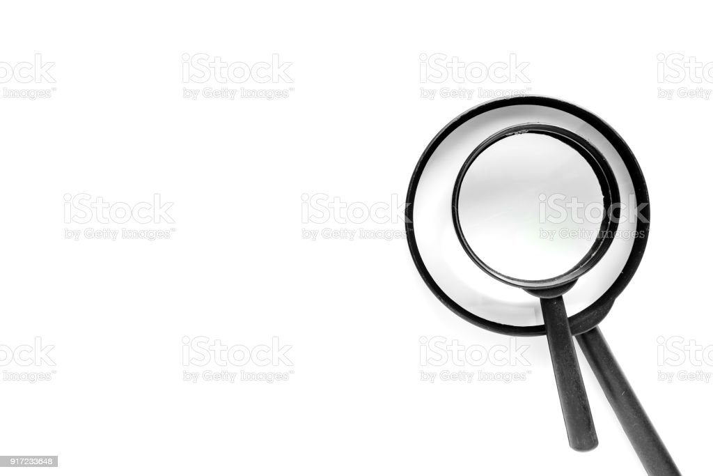 Two Size Of Magnifying Glass On The Right Of White Background With