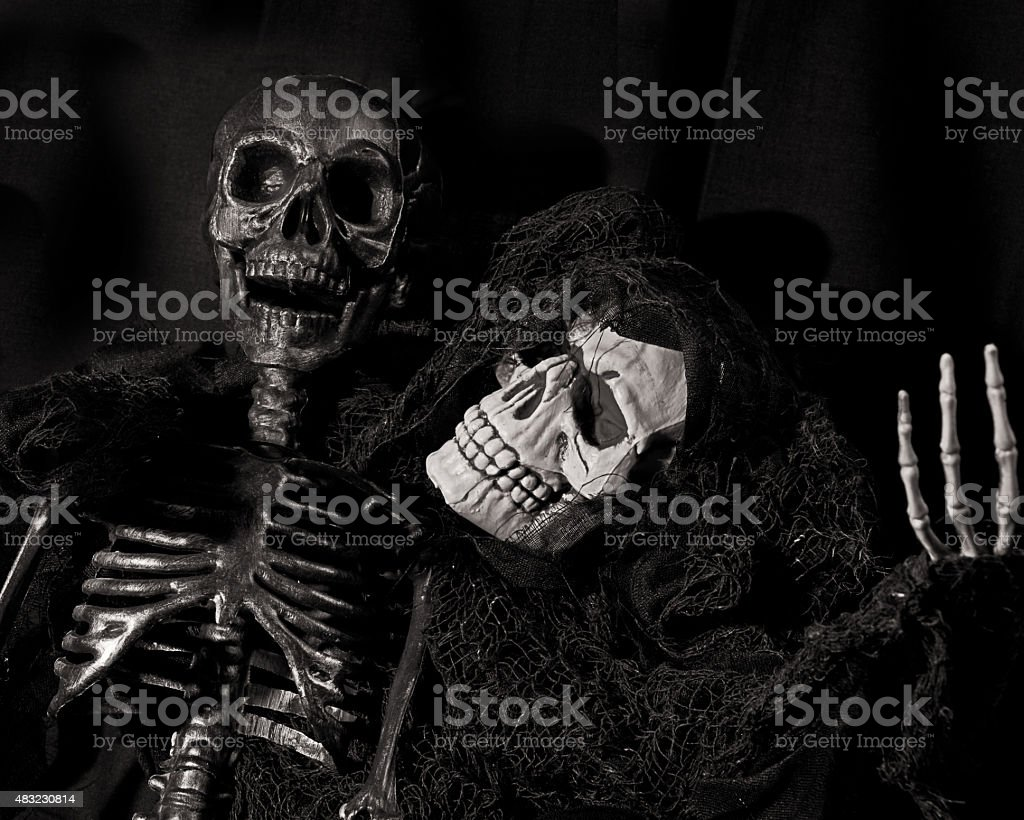 Two skeletons share a joke stock photo