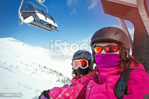 Passengers going on ski lift with face masks during covid-19 pandemic