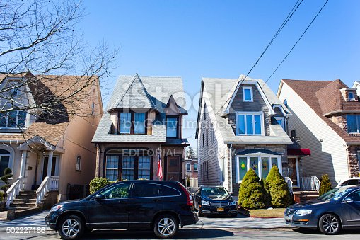 istock Two Skinny Row Homes in Middle Village Queens. 502227166