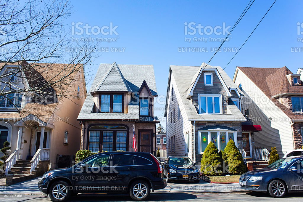 Two Skinny Row Homes in Middle Village Queens. stock photo