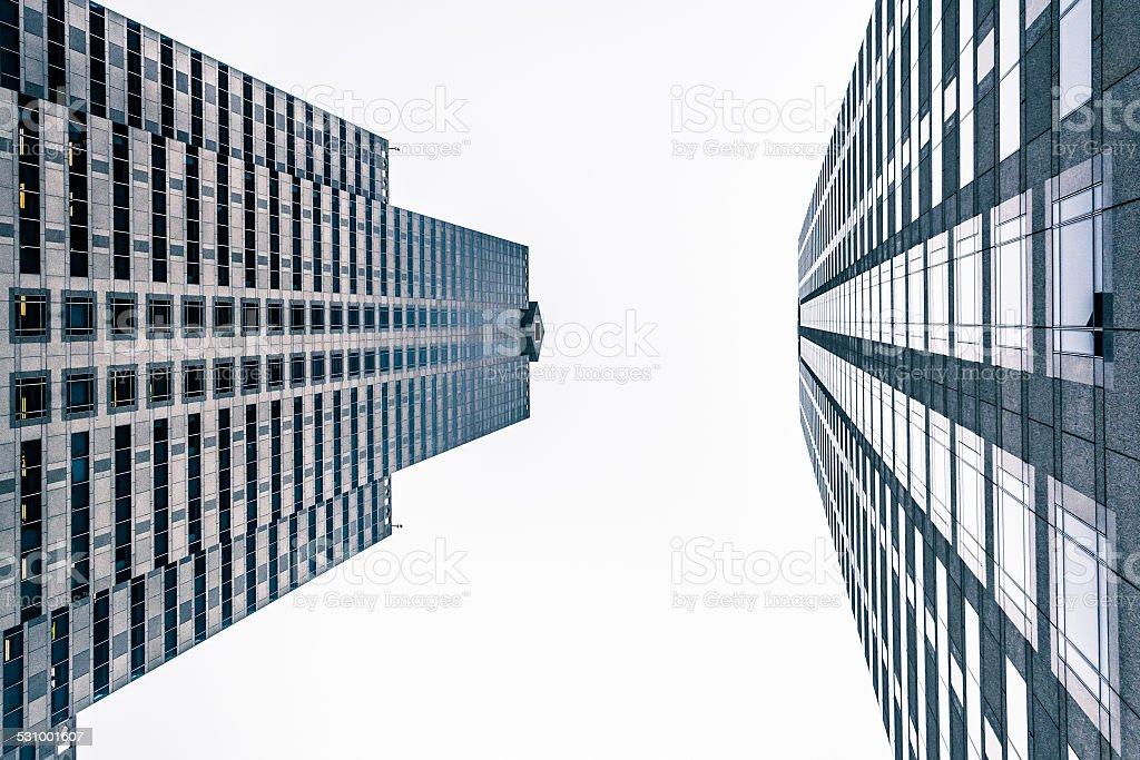 Two skyscrapers in Center City, Philadelphia, Pennsylvania. stock photo