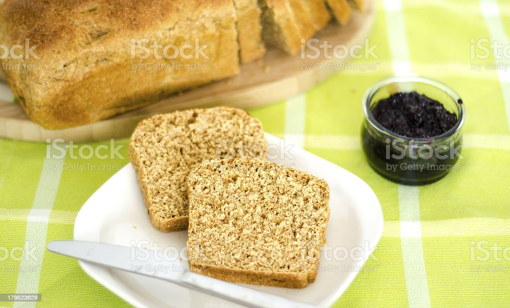 Two Slice of bread with blackberry jam. royalty-free stock photo