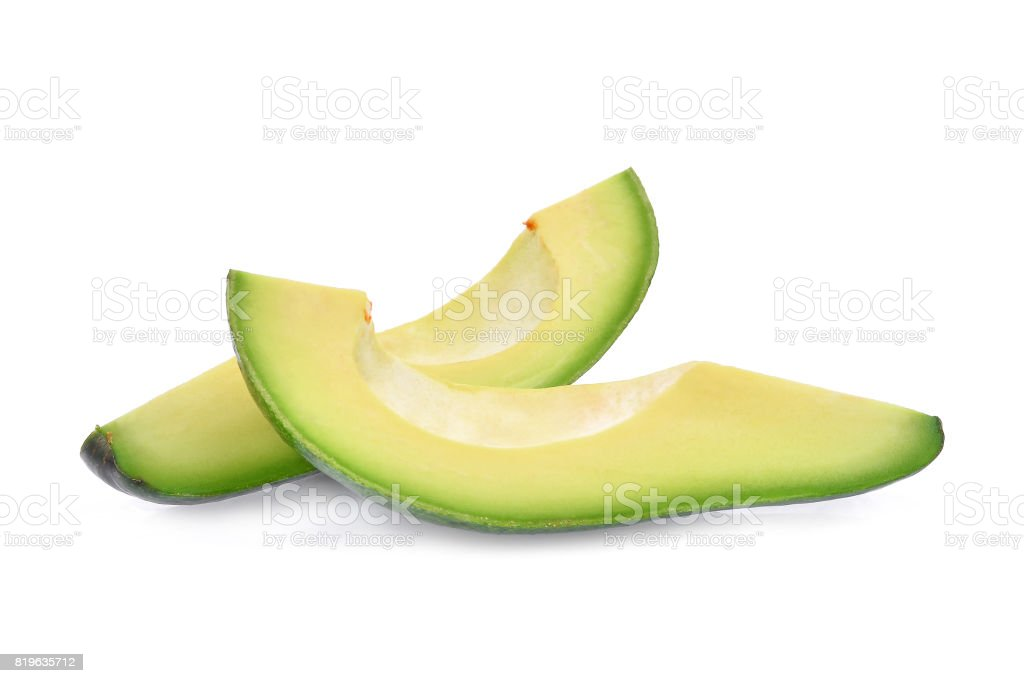 two slice of fresh avocado isolated on white background stock photo