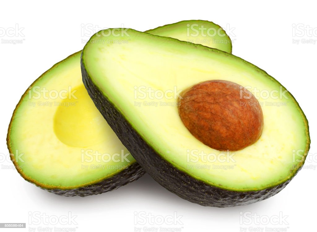 Two slices of avocado. stock photo
