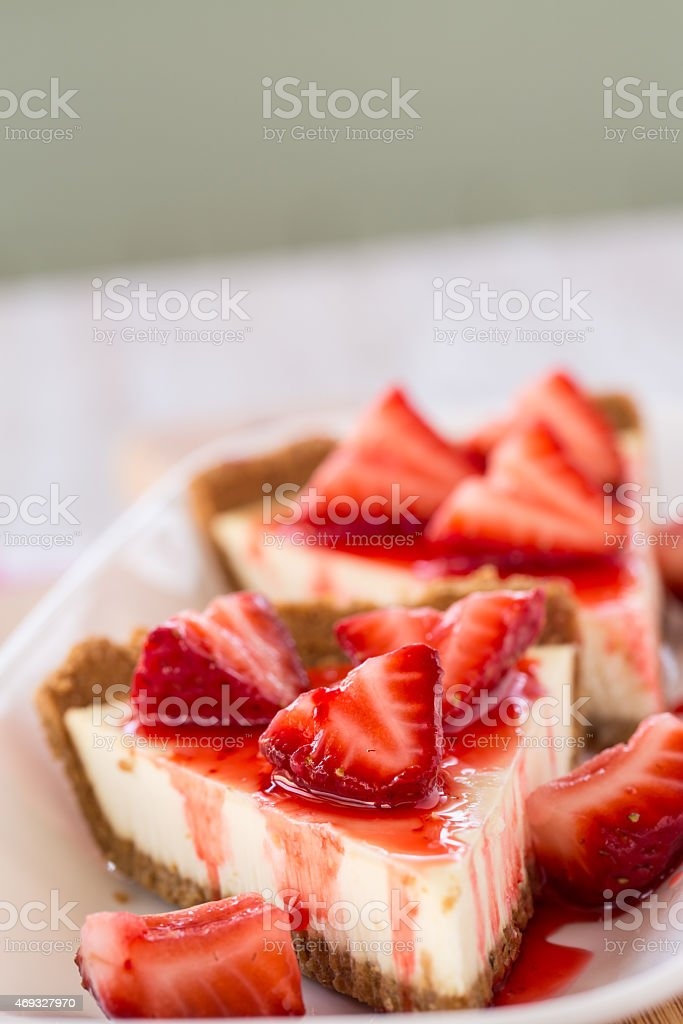 Two Slices of Fresh Cheesecake With Strawberries Vertical stock photo