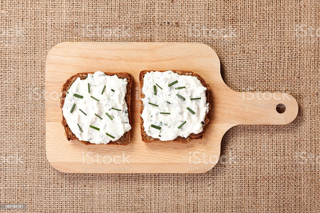 Two slices of spicy buttered bread royalty-free stock photo