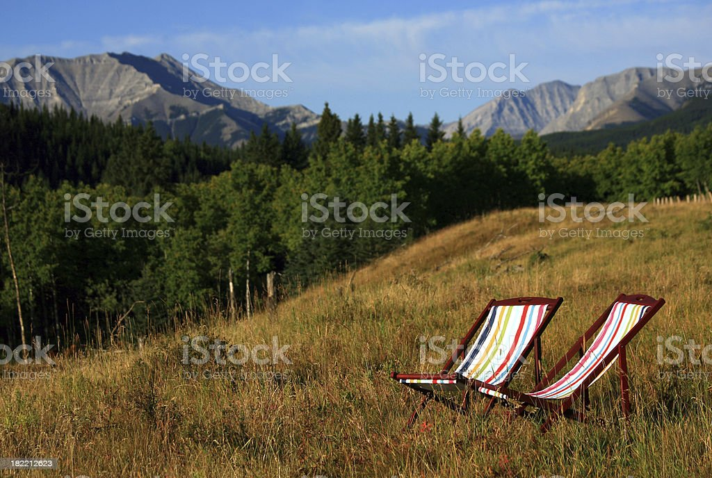 Two Sling Chairs in the Mountains royalty-free stock photo