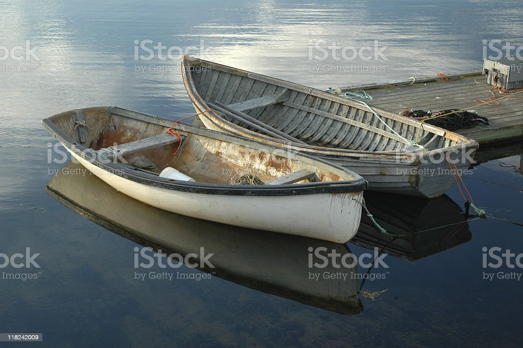 Two small boats in Peggy's Cove. stock photo