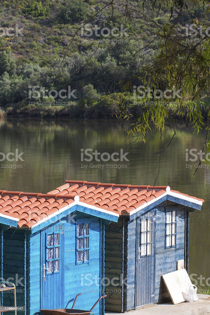 two small fisherman cabins royalty-free stock photo