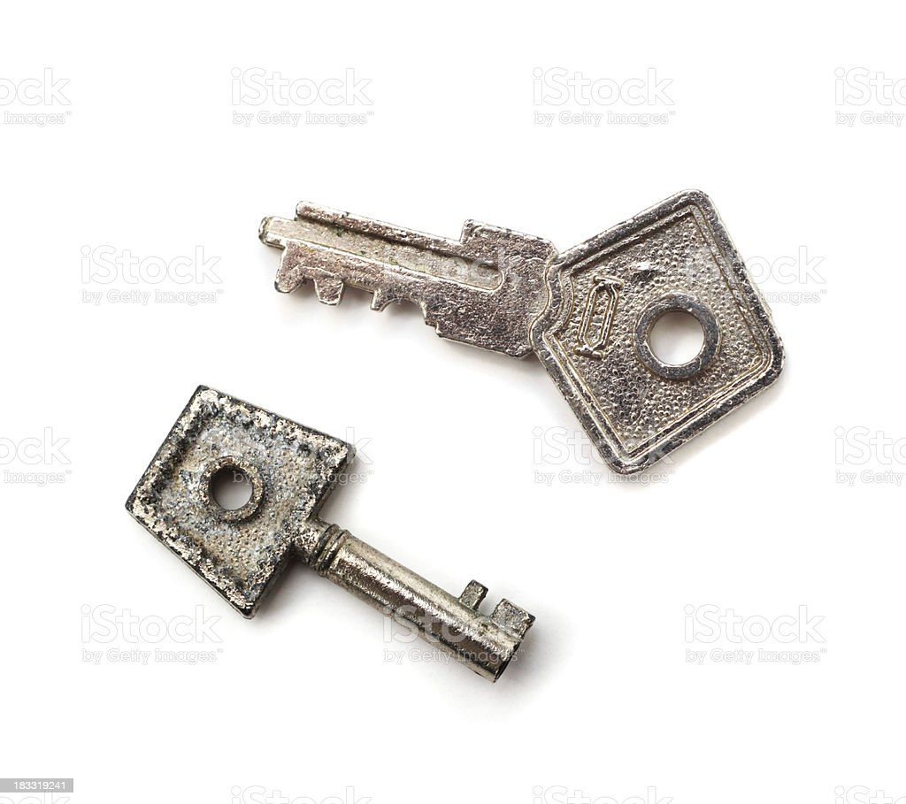 Two small keys in high resolution macro on white stock photo