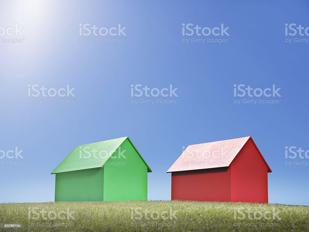 Two small model houses royalty-free stock photo