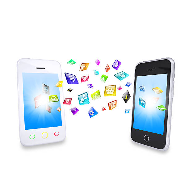 Two smartphone share content stock photo