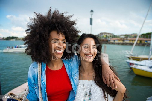 619068028 istock photo Two smiling friends by the sea. 919644236