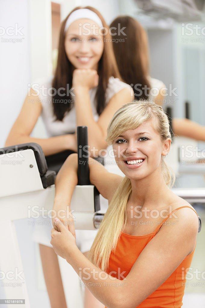 Two smiling sportswomans royalty-free stock photo