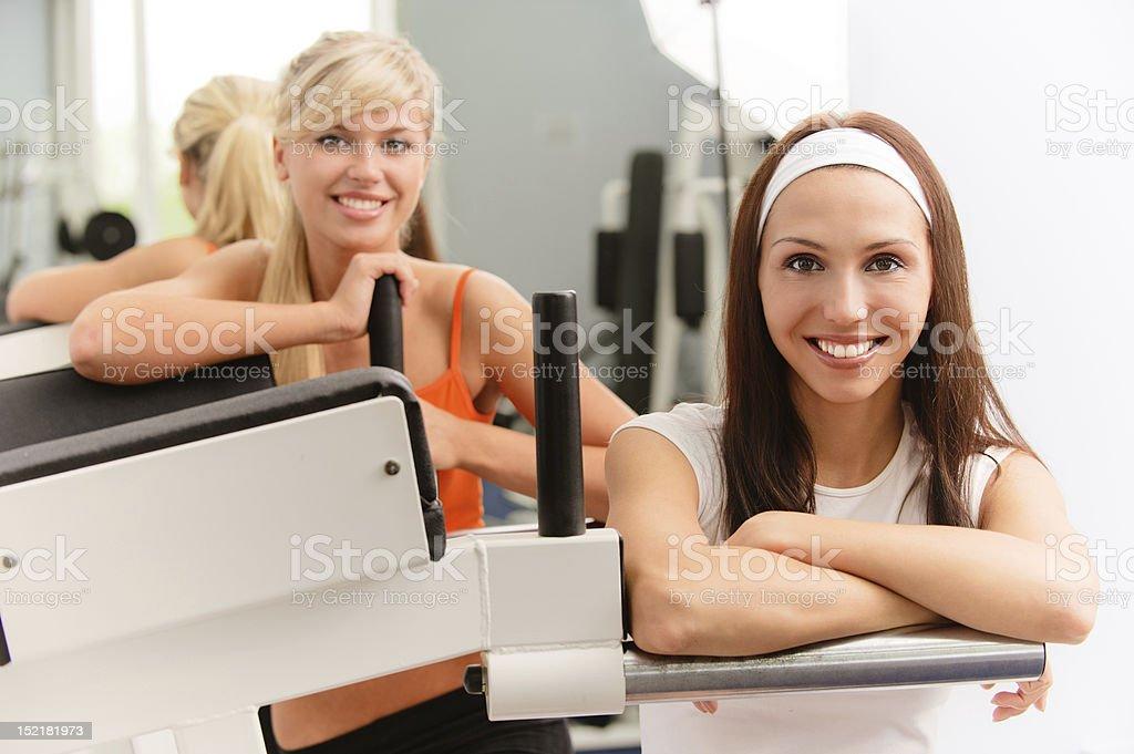 Two smiling sportswomen royalty-free stock photo