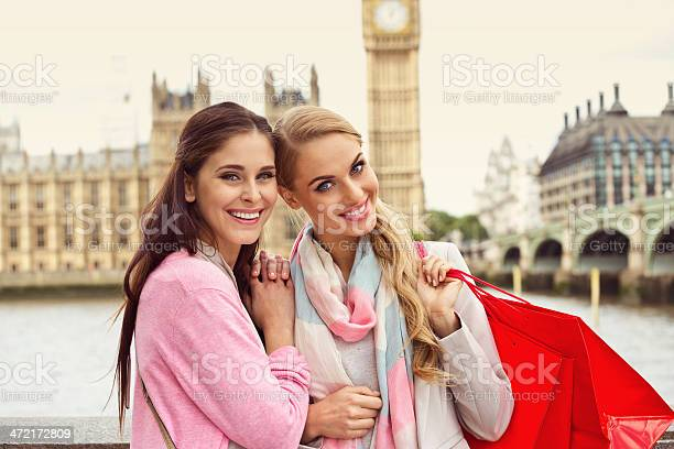 Two Smiling Women At Westminster Bridge London Stock Photo - Download Image Now