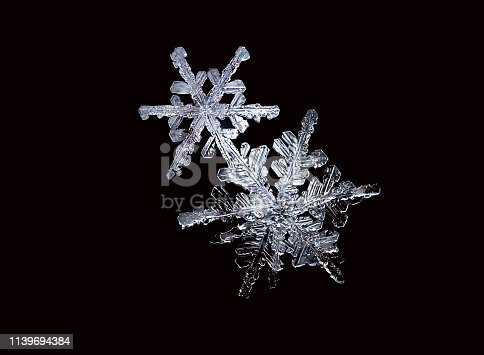 Two snowflakes on a black background