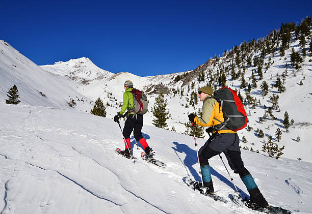 Two Snowshoers stock photo
