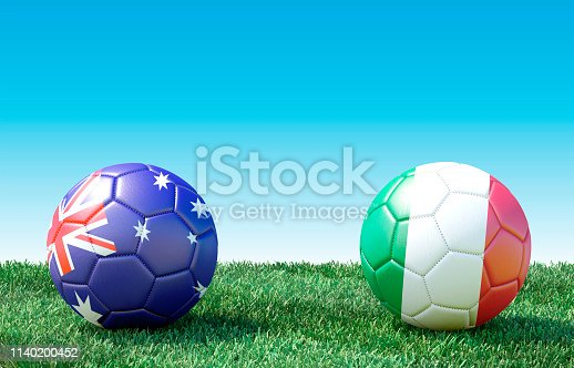 istock Two soccer balls in flags colors on green grass. Australia and Italy 1140200452