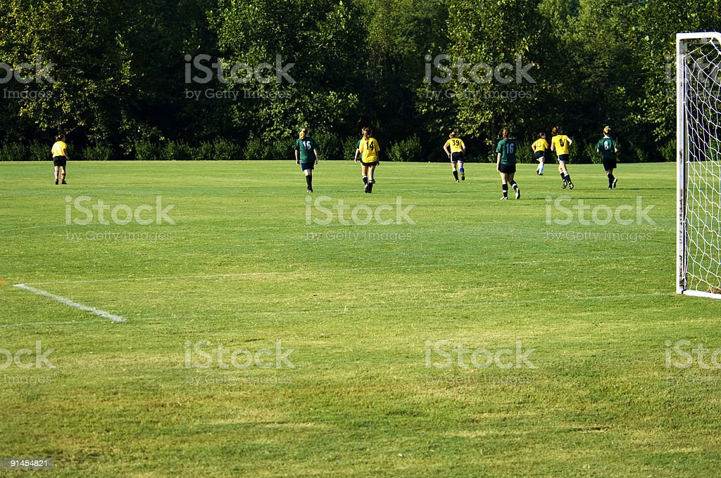 Two soccer teams playing a game on a bright green field  stock photo