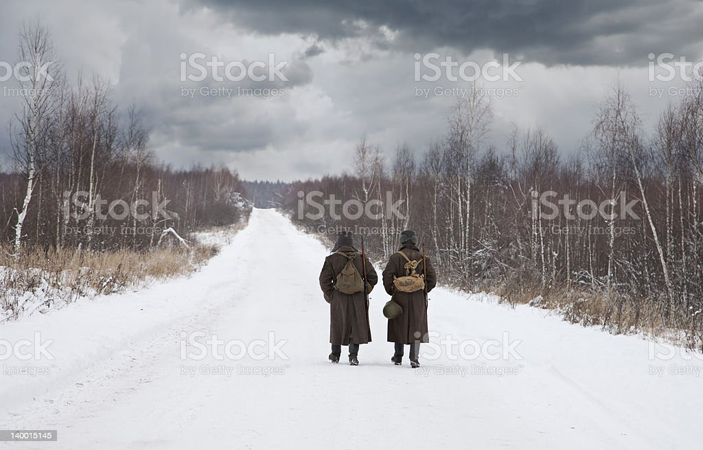 Two soldiers royalty-free stock photo