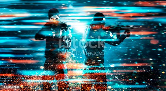istock Two soldiers with rifles stands in a video game like scene 906341568