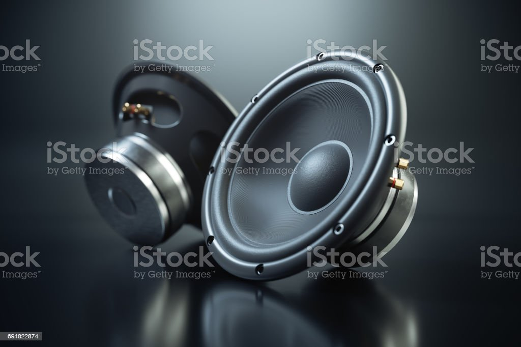 Two sound speakers on black background stock photo