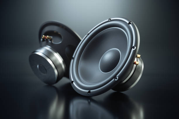 Two sound speakers on black background Two sound speakers on black background 3d render stereo stock pictures, royalty-free photos & images