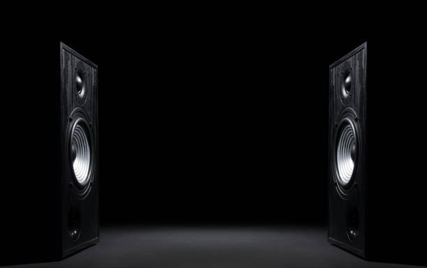 Two sound speakers on black stock photo