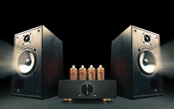 Two sound speakers with vacuum tube amplifier stock photo