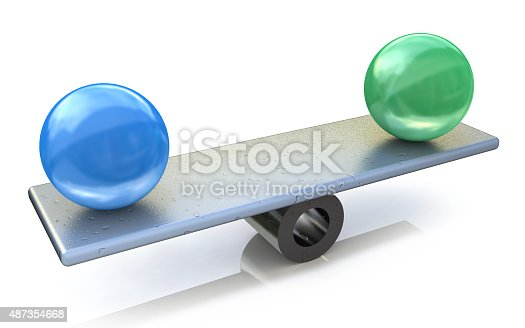 istock Two spheres in balance. 3d rendered illustration 487354668