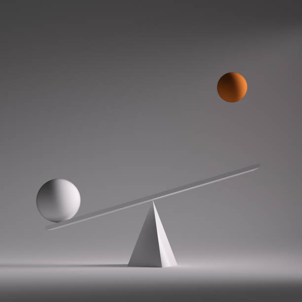 two spheres in equilibrium - balance graphics foto e immagini stock