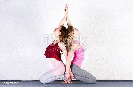 916126642istockphoto Two sports girls train yoga in a fitness class. Group of young women posing 1030478730
