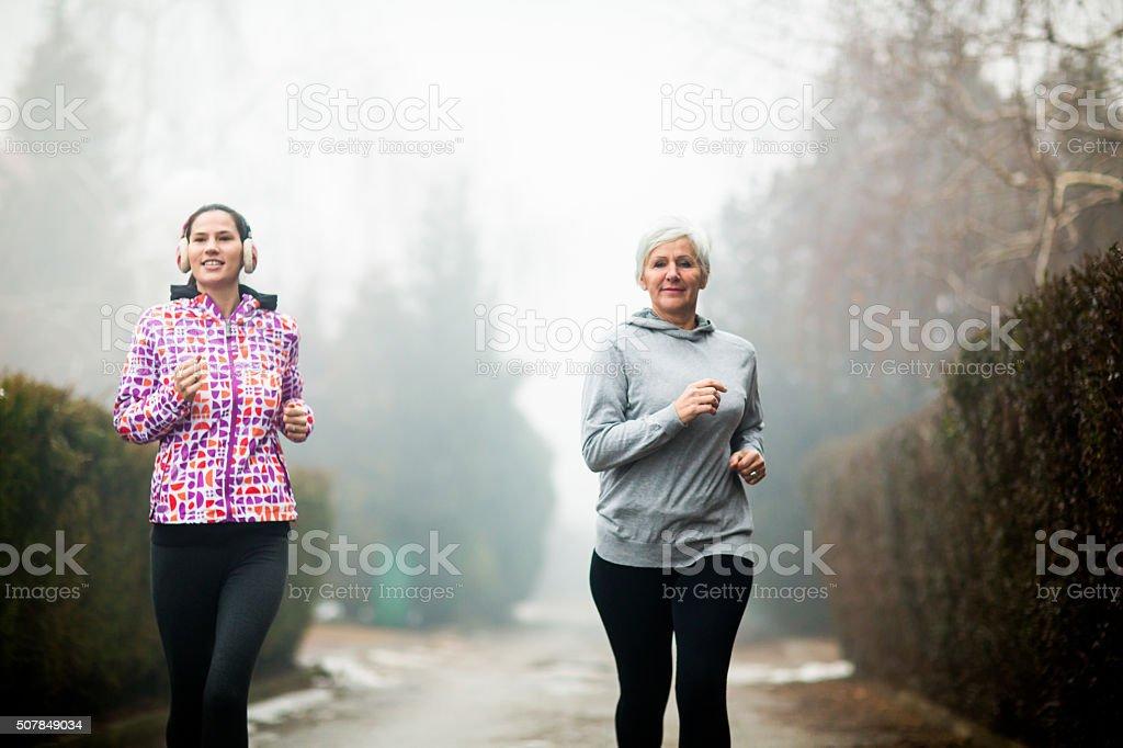 Two sporty women stock photo